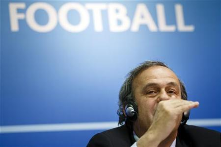 UEFA President Michel Platini attends a news conference after the first UEFA Executive Committee reunion of the year at the UEFA headquarters in Nyon January 25, 2013. REUTERS/Valentin Flauraud