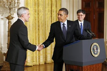 U.S. President Barack Obama (C) shakes hands with nominee veteran foreign policy aide Denis McDonough (L) as his next White House chief of staff in the East Room of the White House in Washington, January 25, 2013. REUTERS/Jason Reed