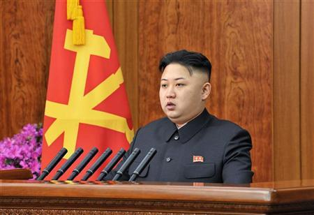 North Korean leader Kim Jong-un delivers a New Year address in Pyongyang in this picture released by the North's official KCNA news agency on January 1, 2013. REUTERS/KCNA