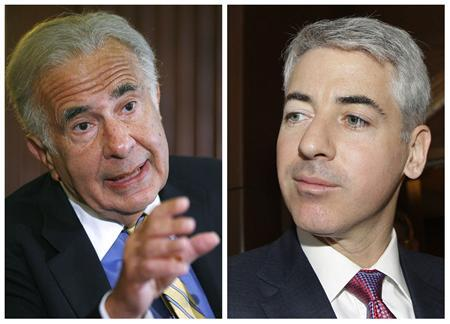 A combination file photo shows investor Carl Icahn (L) speaking at the Wall Street Deals & Deal Makers conference in New York, June 27, 2007 and William Ackman, CEO of Pershing Square Management LP at AGM of CP Rail in Calgary, Alberta, May 17, 2012. The two biggest hedge fund activist investors in the world, Carl Icahn and Bill Ackman squared off on CNBC Friday during a lunchtime interview exchanging verbal attacked which was watched closely on the New York Stock Exchange floor and Twitter. REUTERS/Staff