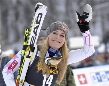 Lindsey Vonn of the U.S. reacts after winning the World Cup Women's Giant Slalom race in Maribor, January 26, 2013. REUTERS/Srdjan Zivulovic