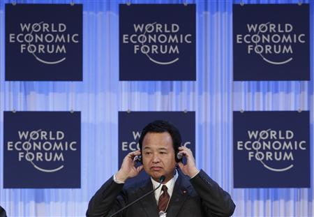 Japan's Economic Revival Minister Akira Amari attends the annual meeting of the World Economic Forum (WEF) in Davos January 26, 2013. REUTERS/Denis Balibouse