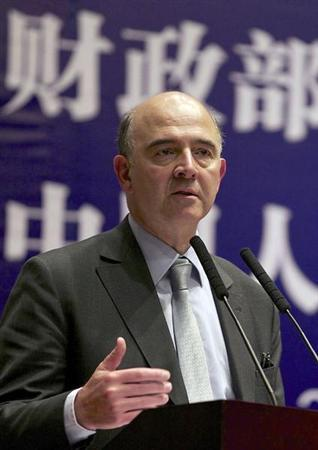 France's Finance Minister Pierre Moscovici delivers a speech in Renmin University during his visit in Beijing, January 8, 2013. REUTERS/China Daily