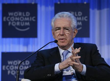 Italy's Prime Minister Mario Monti speaks during the annual meeting of the World Economic Forum (WEF) in Davos January 24, 2013. REUTERS/Pascal Lauener