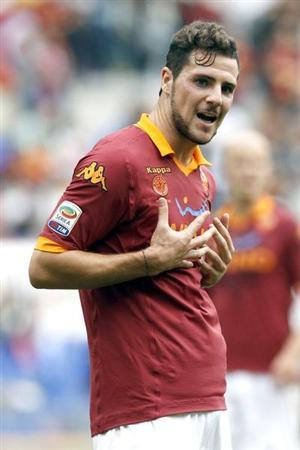 AS Roma's Mattia Destro reacts during their Italian Serie A match against Atalanta at the Olympic stadium in ROme October 7, 2012. REUTERS/Giampiero Sposito