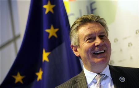 European Trade Commissioner Karel De Gucht answers a question during an interview with Reuters at the summit of the Community of Latin American, Caribbean States and European Union (CELAC-UE) in Santiago, January 26, 2013. REUTERS/Jorge Sanchez