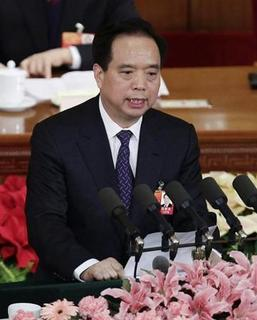 Li Jianguo, vice chairman of the Standing Committee of the National People's Congress (NPC), talks during the second plenary meeting of the NPC at the Great Hall of the People in Beijing March 8, 2012. REUTERS/Jason Lee