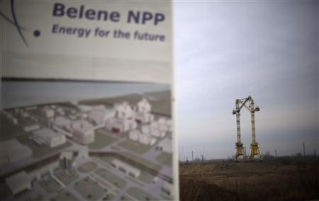 Cranes are seen in the background at the construction site of Bulgaria's second nuclear power plant in Belene, some 230 km (143 miles) north of Sofia, January 24, 2013. REUTERS/Stoyan Nenov