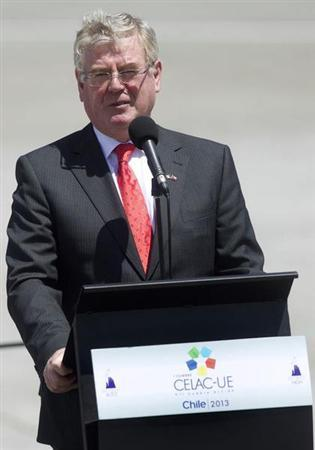Irish Foreign Minister Eamon Gilmore speaks to media as he arrives to attend the summit of the Community of Latin American, Caribbean States and European Union (CELAC-UE), at the airport of Santiago January 25, 2013. REUTERS/Claudio Reyes