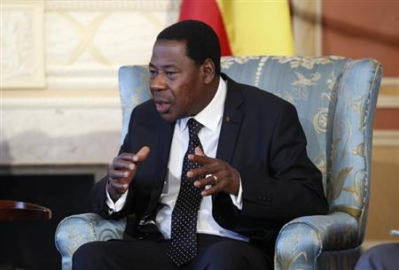 Chairman of the African Union and Benin's President Thomas Boni Yayi speaks during a meeting with Canada's Governor General David Johnston (not pictured) at Rideau Hall in Ottawa January 9, 2013. REUTERS/Chris Wattie