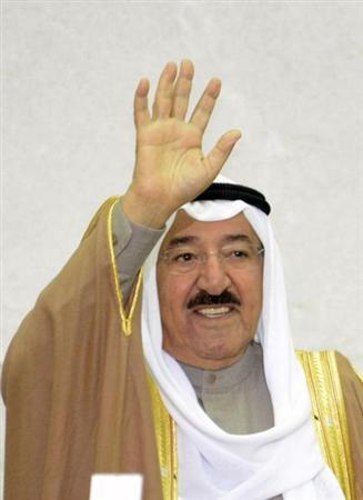 Emir Sheikh Sabah al-Ahmad al-Sabah waves as he enters the Parliaments Abdullah Salem Assembly Hall at the start of the opening of the 14th session of Parliament in Kuwait City December 16, 2012. REUTERS/Stephanie Mcgehee