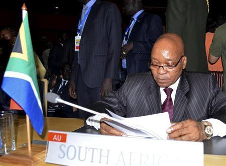 South Africa's President Jacob Zuma attends the opening ceremony of the 20th Ordinary Session of the Assembly of Heads of State and Governments at the African Union (AU) headquarters in the Ethiopian capital Addis Ababa January 27, 2013. REUTERS/Tiksa Negeri
