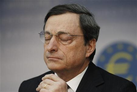 The European Central Bank (ECB) President Mario Draghi reacts during the monthly news conference in Frankfurt, February 9, 2012.REUTERS/Alex Domanski