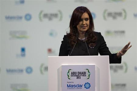 Argentina's President Cristina Fernandez de Kirchner speaks during the opening of Abu Dhabi Sustainability Week at Abu Dhabi National Exhibition Centre, in this picture provided by WAM January 15, 2013. REUTERS/WAM/Handout