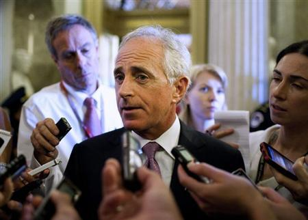 Senator Robert Corker (R-TN) speaks to the media before voting on a bill allowing a rise in the debt ceiling on Capitol Hill in Washington in this file photo taken August 2, 2011. REUTERS/Joshua Roberts