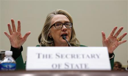 U.S. Secretary of State Hillary Clinton testifies on the September attack on U.S. diplomatic sites in Benghazi, Libya during a hearing held by the House Foreign Affairs committee on Capitol Hill in Washington January 23, 2013. REUTERS/Kevin Lamarque