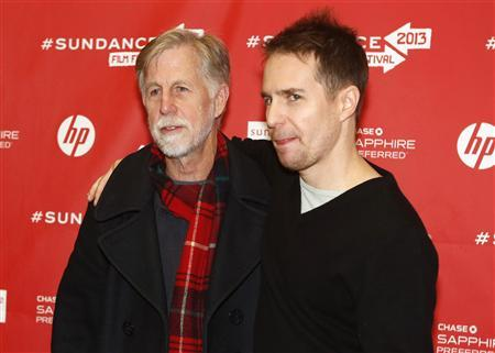 Cast member Sam Rockwell (R) with his father Pete Rockwell attend the premiere of the film ''The Way, Way Back'' at the Sundance Film Festival in Park City, Utah, January 21, 2013. REUTERS/Jim Urquhart