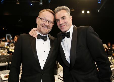 Actors Jared Harris (L) and Daniel Day-Lewis from the film ''Lincoln'' pose at a cocktail party before the 19th annual Screen Actors Guild Awards in Los Angeles, California January 27, 2013. REUTERS/Lucy Nicholson