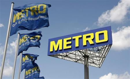 The logo of Germany's biggest retailer Metro AG is pictured at a Metro cash and carry in Berlin, June 10, 2009.