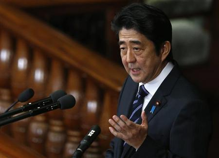 Japan's Prime Minister Shinzo Abe makes a policy speech during the start of ordinary session at the lower house of parliament in Tokyo January 28, 2013. REUTERS/Toru Hanai