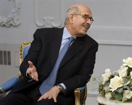 Mohamed Elbaradei speaks with the Iranian President Mahmoud Ahmadinejad (unseen in the picture) while attending an official meeting in Tehran January 12, 2008. REUTERS/Morteza Nikoubazl/Files