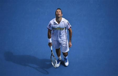 Radek Stepanek of Czech Republic reacts to missing a point during his men's singles match against Novak Djokovic of Serbia at the Australian Open tennis tournament in Melbourne January 18, 2013. REUTERS/Toby Melville