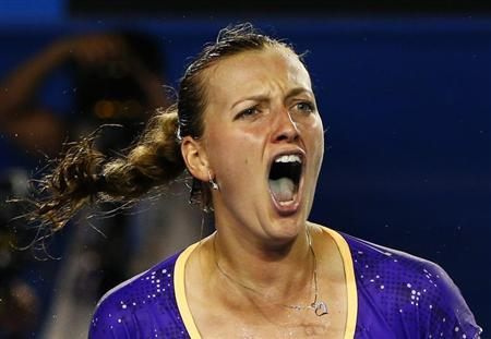 Petra Kvitova of Czech Republic reacts during her women's singles match against Laura Robson of Britain at the Australian Open tennis tournament in Melbourne, January 17, 2013. REUTERS/David Gray