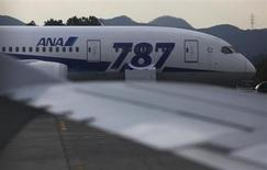 All Nippon Airways' (ANA) Boeing Co's 787 Dreamliner aircraft which made an emergency landing on last Wednesday, is seen through a window of the ANA's Airbus A320 jet, at Takamatsu airport in Takamatsu, western Japan January 19, 2013. U.S. and Japanese aviation safety officials finished an initial investigation of a badly damaged battery from a Boeing Co 787 Dreamliner jet on Friday as Boeing said it was halting deliveries until the battery concerns were resolved. REUTERS/Issei Kato (JAPAN - Tags: TRANSPORT DISASTER BUSINESS POLITICS