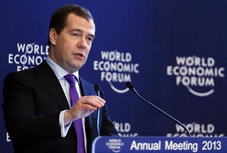 Russia's Prime Minister Dmitry Medvedev speaks during the annual meeting of the World Economic Forum (WEF) in Davos January 24, 2013. REUTERS/Pascal Lauener (SWITZERLAND - Tags: POLITICS BUSINESS)