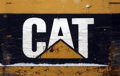 The CAT logo is seen on back of a Caterpillar excavator machine at a work site in Detroit, Michigan January 25, 2013. REUTERS/ Rebecca Cook