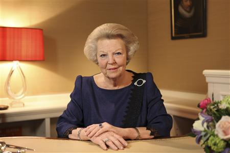 Dutch Queen Beatrix, who turns 75 on Thursday, announces her abdication in favour of her son, Prince Willem-Alexander, in a hastily announced broadcast on Dutch National Television to the nation at her home palace in The Hague in this handout picture dated January 28, 2013. REUTERS/RVD/Handout