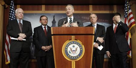 (L-R) Senators John McCain (R-AZ), Robert Menendez (D-NJ), Charles Schumer (D-NY), Richard Durbin (D-IL) and Marco Rubio (R-FL) attend a news conference on comprehensive immigration reform at the U.S. Capitol in Washington January 28, 2013. REUTERS/Gary Cameron