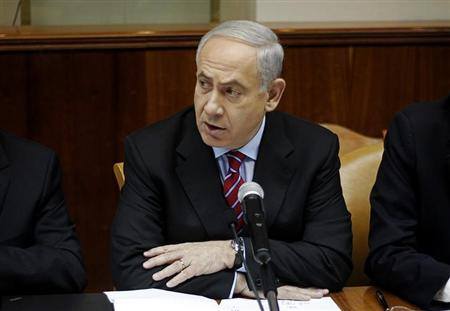 Israel's Prime Minister Benjamin Netanyahu attends the weekly cabinet meeting in Jerusalem January 27, 2013. REUTERS/Ariel Schalit/Pool