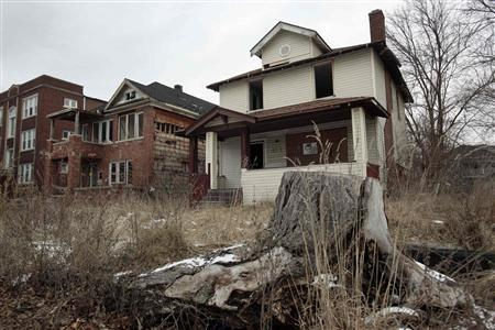 Vacant and blighted homes are seen in a once vibrant east side neighborhood in Detroit, Michigan January 27, 2013. REUTERS/Rebecca Cook