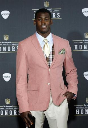 San Franciso 49ers Aldon Smith arrives for the Inaugural National Football League Honors at Super Bowl XLVI in Indianapolis, Indiana, February 4, 2012. REUTERS/Mike Segar