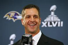 Baltimore Ravens head coach John Harbaugh speaks during a news conference after the team's arrival for the NFL's Super Bowl XLVII in New Orleans, Louisiana January 28, 2013. The Baltimore Ravens will meet the San Francisco 49ers in the game on February 3. REUTERS/Jeff Haynes