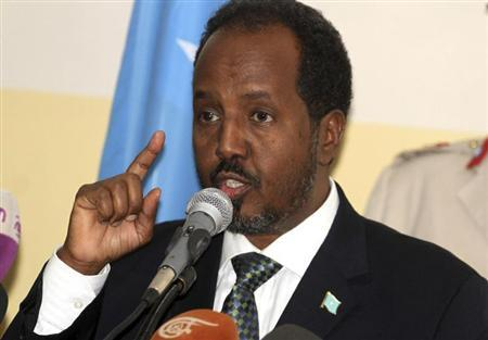 Somalia's President Hassan Sheikh Mohamud addresses members of the parliament before introducing newly appointed Prime Minister Abdi Farah Shirdon Saaid (unseen) in Mogadishu October 17, 2012. REUTERS/Ismail Taxta