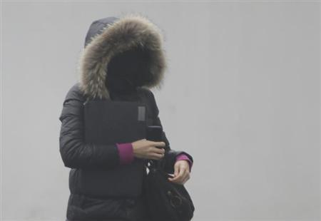 A woman wearing a mask walks on a heavy haze day during winter in Beijing January 29, 2013. REUTERS/Jason Lee