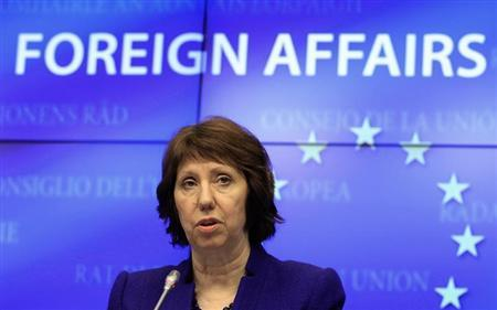 EU foreign policy chief Catherine Ashton holds a news conference after an European Union emergency foreign ministers meeting to discuss the crisis in Mali January 17, 2013. REUTERS/Yves Herman