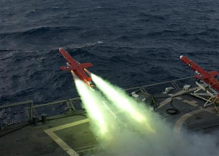 A U.S. Navy BQM-74E drone launches from the flight deck of the guided missile frigate USS Underwood (FFG 36) during a live fire exercise in the Caribbean Sea, September 21, 2012 as part of Unitas Atlantic phase 53-12 in this image released on September 24, 2012. REUTERS/Stuart Phillips/U.S. Navy/Handout