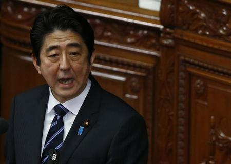 Japan's Prime Minister Shinzo Abe makes a policy speech during the start of an ordinary session at the lower house of parliament in Tokyo January 28, 2013. REUTERS/Toru Hanai