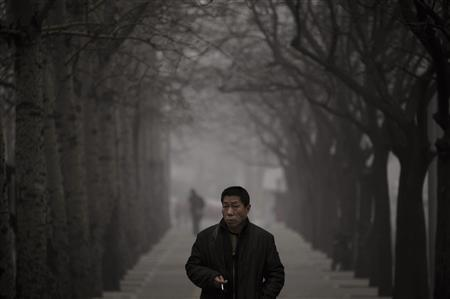 A man looks up as he walks along a street on a hazy day in Beijing January 29, 2013. REUTERS/Petar Kujundzic