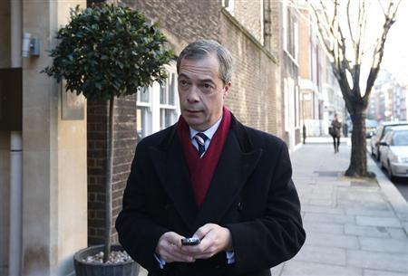 Britain's United Kingdom Independence Party (UKIP) leader and member of the European Parliament Nigel Farage arrives at Millbank studios for a series of interviews in central London November 30, 2012. REUTERS/Suzanne Plunkett
