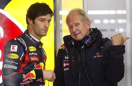 Red Bull Formula One driver Mark Webber (L) of Australia talks to Helmut Marko during a free practice session of the German F1 Grand Prix at the Nuerburgring circuit, July 22, 2011. REUTERS/Kai Pfaffenbach/Files