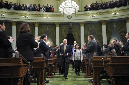 Governor Edmund G. ''Jerry'' Brown arrives at the State of the State Address in Sacramento, California, January 24, 2013. REUTERS/Justin Short/ Office of the Governor/Handout