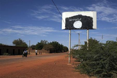 A sign for the radical Islamist group MUJAO is seen in Douentza January 29, 2013. REUTERS/Joe Penney