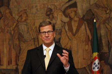 Germany's Foreign Minister Guido Westerwelle gestures during a news conference at Palacio das Necessidades in Lisbon January 24, 2013. REUTERS/Hugo Correia