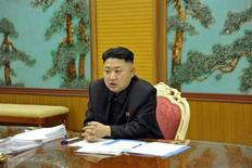 North Korean leader Kim Jong-Un presides over a consultative meeting with officials about state security and foreign affairs in this undated recent picture released by North Korea's official KCNA news agency in Pyongyang on January 27, 2013. REUTERS/KCNA