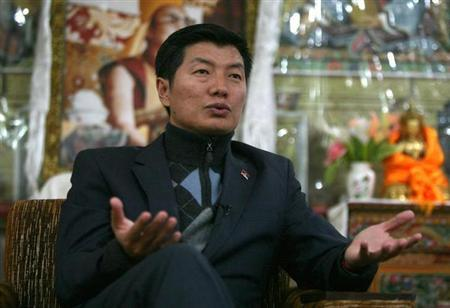 Lobsang Sangay, Prime Minister of the Tibetan government-in-exile, speaks during an interview with Reuters in Dharamsala November 10, 2011. REUTERS/Mukesh Gupta/Files