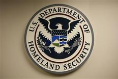 U.S. Department of Homeland Security emblem is pictured at the National Cybersecurity & Communications Integration Center (NCCIC) located just outside Washington in Arlington, Virginia September 24, 2010. REUTERS/Hyungwon Kang